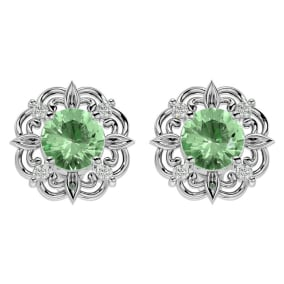 1 1/2 Carat Green Amethyst and Diamond Antique Stud Earrings In 14 Karat White Gold