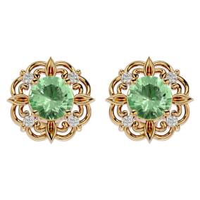 1 1/2 Carat Green Amethyst and Diamond Antique Stud Earrings In 14 Karat Yellow Gold