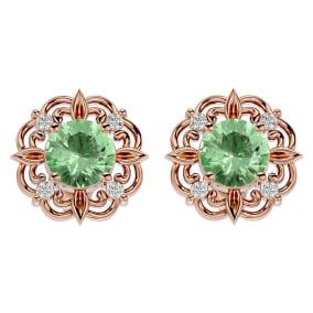 1 1/2 Carat Green Amethyst and Diamond Antique Stud Earrings In 14 Karat Rose Gold