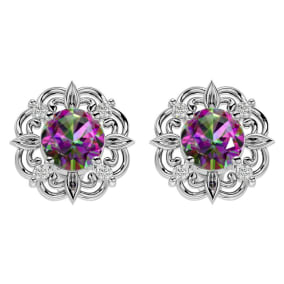 2 1/10 Carat Mystic Topaz and Diamond Antique Stud Earrings In 14 Karat White Gold