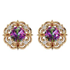 2 1/10 Carat Mystic Topaz and Diamond Antique Stud Earrings In 14 Karat Yellow Gold