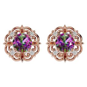 2 1/10 Carat Mystic Topaz and Diamond Antique Stud Earrings In 14 Karat Rose Gold