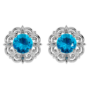 2 1/10 Carat Blue Topaz and Diamond Antique Stud Earrings In 14 Karat White Gold