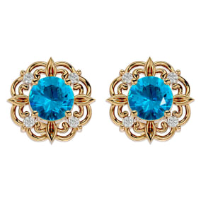 2 1/10 Carat Blue Topaz and Diamond Antique Stud Earrings In 14 Karat Yellow Gold
