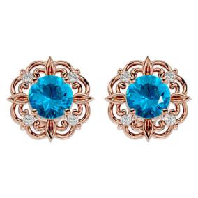 2 1/10 Carat Blue Topaz and Diamond Antique Stud Earrings In 14 Karat Rose Gold