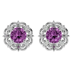 2 1/10 Carat Pink Topaz and Diamond Antique Stud Earrings In 14 Karat White Gold