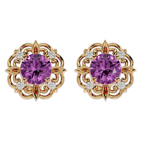 2 1/10 Carat Pink Topaz and Diamond Antique Stud Earrings In 14 Karat Yellow Gold