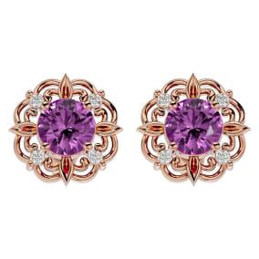 2 1/10 Carat Pink Topaz and Diamond Antique Stud Earrings In 14 Karat Rose Gold