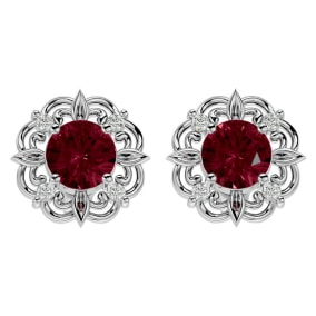 2 1/10 Carat Garnet and Diamond Antique Stud Earrings In 14 Karat White Gold
