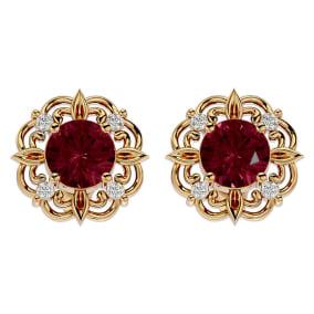 2 1/10 Carat Garnet and Diamond Antique Stud Earrings In 14 Karat Yellow Gold
