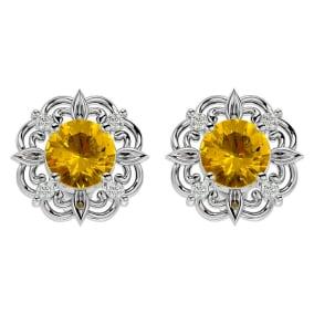 1 1/2 Carat Citrine and Diamond Antique Stud Earrings In 14 Karat White Gold