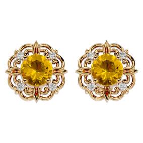 1 1/2 Carat Citrine and Diamond Antique Stud Earrings In 14 Karat Yellow Gold