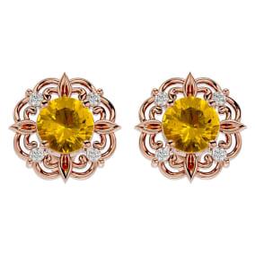 1 1/2 Carat Citrine and Diamond Antique Stud Earrings In 14 Karat Rose Gold