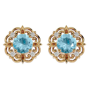 1 1/2 Carat Aquamarine and Diamond Antique Stud Earrings In 14 Karat Yellow Gold