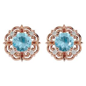 1 1/2 Carat Aquamarine and Diamond Antique Stud Earrings In 14 Karat Rose Gold