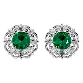 1 3/4 Carat Emerald and Diamond Antique Stud Earrings In 14 Karat White Gold