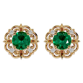 1 3/4 Carat Emerald and Diamond Antique Stud Earrings In 14 Karat Yellow Gold
