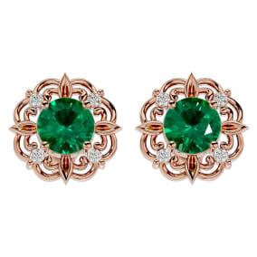 1 3/4 Carat Emerald and Diamond Antique Stud Earrings In 14 Karat Rose Gold