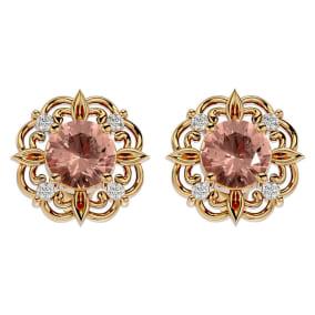 1 3/4 Carat Morganite and Diamond Antique Stud Earrings In 14 Karat Yellow Gold