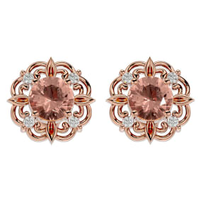1 3/4 Carat Morganite and Diamond Antique Stud Earrings In 14 Karat Rose Gold