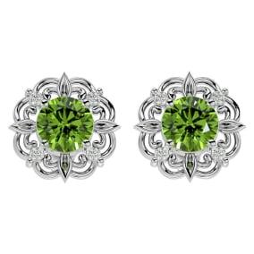 1 3/4 Carat Peridot and Diamond Antique Stud Earrings In 14 Karat White Gold