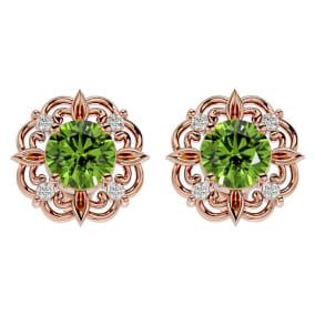 1 3/4 Carat Peridot and Diamond Antique Stud Earrings In 14 Karat Rose Gold
