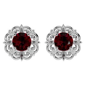 2 1/5 Carat Ruby and Diamond Antique Stud Earrings In 14 Karat White Gold