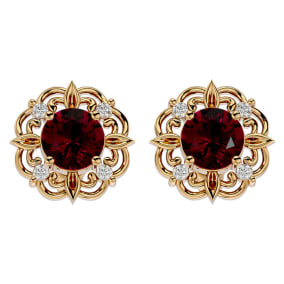2 1/5 Carat Ruby and Diamond Antique Stud Earrings In 14 Karat Yellow Gold