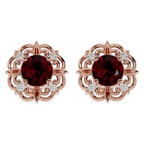 2 1/5 Carat Ruby and Diamond Antique Stud Earrings In 14 Karat Rose Gold