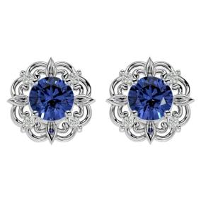 1 3/4 Carat Tanzanite and Diamond Antique Stud Earrings In 14 Karat White Gold