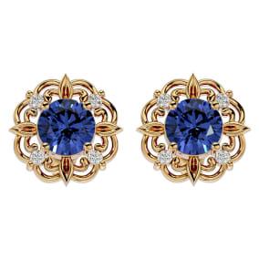1 3/4 Carat Tanzanite and Diamond Antique Stud Earrings In 14 Karat Yellow Gold