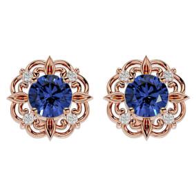 1 3/4 Carat Tanzanite and Diamond Antique Stud Earrings In 14 Karat Rose Gold
