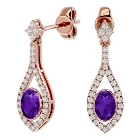 2 Carat Oval Shape Amethyst and Diamond Dangle Earrings In 14 Karat Rose Gold