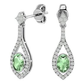 2 Carat Oval Shape Green Amethyst and Diamond Dangle Earrings In 14 Karat White Gold