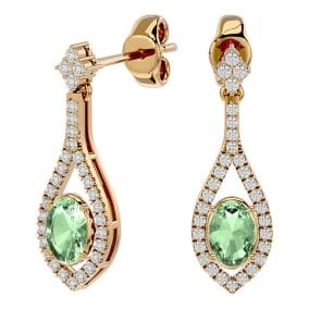 2 Carat Oval Shape Green Amethyst and Diamond Dangle Earrings In 14 Karat Yellow Gold