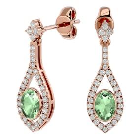 2 Carat Oval Shape Green Amethyst and Diamond Dangle Earrings In 14 Karat Rose Gold