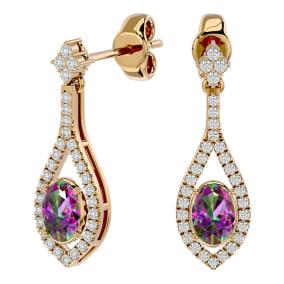 2 Carat Oval Shape Mystic Topaz and Diamond Dangle Earrings In 14 Karat Yellow Gold