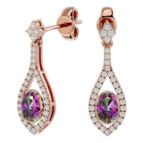 2 Carat Oval Shape Mystic Topaz and Diamond Dangle Earrings In 14 Karat Rose Gold