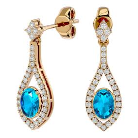 2 1/2 Carat Oval Shape Blue Topaz and Diamond Dangle Earrings In 14 Karat Yellow Gold