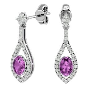 2 1/2 Carat Oval Shape Pink Topaz and Diamond Dangle Earrings In 14 Karat White Gold
