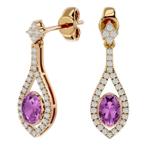 2 1/2 Carat Oval Shape Pink Topaz and Diamond Dangle Earrings In 14 Karat Yellow Gold
