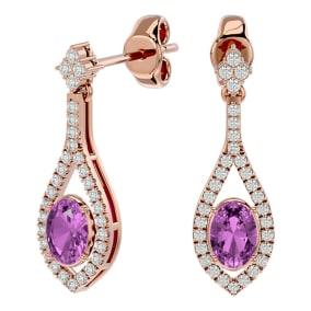 2 1/2 Carat Oval Shape Pink Topaz and Diamond Dangle Earrings In 14 Karat Rose Gold