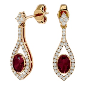 2 1/2 Carat Oval Shape Garnet and Diamond Dangle Earrings In 14 Karat Yellow Gold