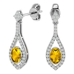 2 Carat Oval Shape Citrine and Diamond Dangle Earrings In 14 Karat White Gold