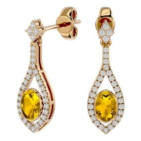 2 Carat Oval Shape Citrine and Diamond Dangle Earrings In 14 Karat Yellow Gold