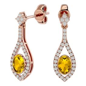 2 Carat Oval Shape Citrine and Diamond Dangle Earrings In 14 Karat Rose Gold
