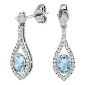 2 Carat Oval Shape Aquamarine and Diamond Dangle Earrings In 14 Karat White Gold