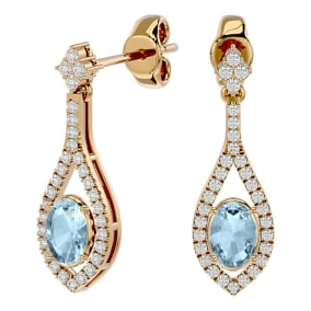 2 Carat Oval Shape Aquamarine and Diamond Dangle Earrings In 14 Karat Yellow Gold