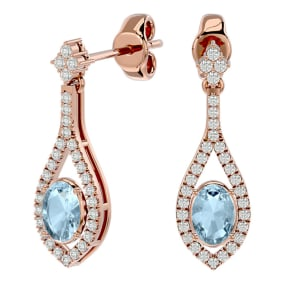 2 Carat Oval Shape Aquamarine and Diamond Dangle Earrings In 14 Karat Rose Gold