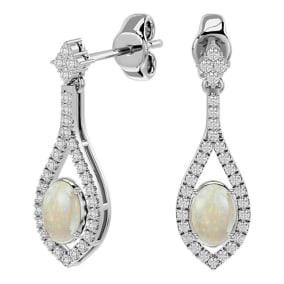 2 Carat Oval Shape Opal and Diamond Dangle Earrings In 14 Karat White Gold